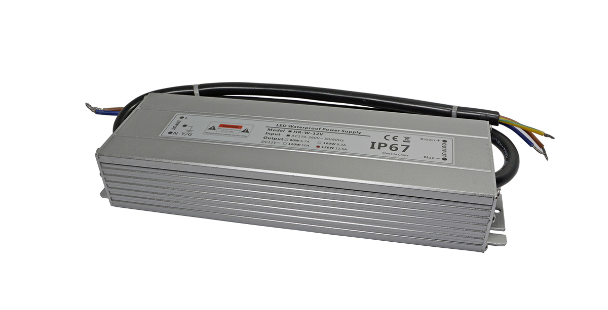 led防水电源150W不生锈铝外壳-深圳LED电源厂家华荣科源