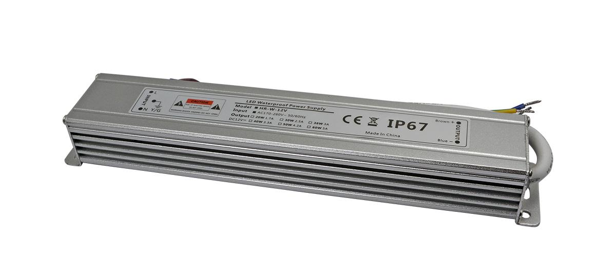led防水电源长条形铝壳30W-深圳led电源厂家华荣科源